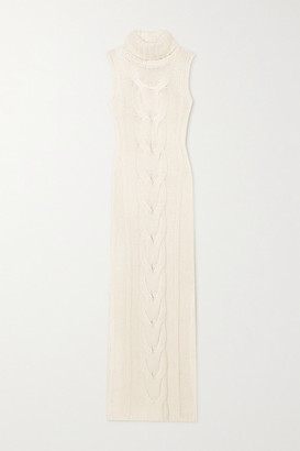 STAUD Aubrey Cable-knit Cotton-blend Turtleneck Maxi Dress - Ivory