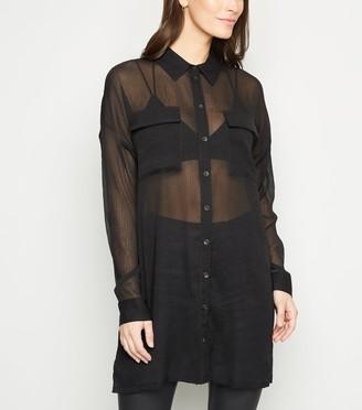 New Look Noisy May Mesh Long Sheer Shirt