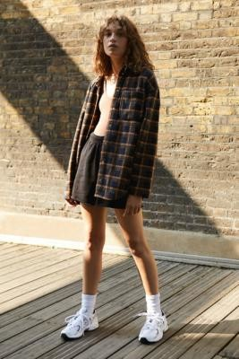 BDG Cosy Check Work Shirt Jacket - Black XS at Urban Outfitters