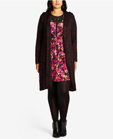 City Chic Trendy Plus Size Hooded Duster Cardigan