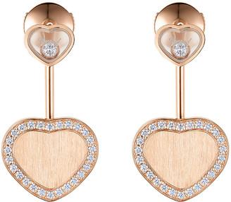 Chopard Happy Hearts 18k Rose Gold Diamond and Drop Earrings