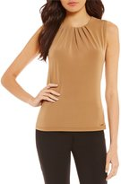 Calvin Klein Matte Jersey Pleat Neck Shell
