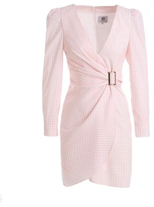 Couture Comino London Soft Pink Gingham V Neck Dress With Side Gathering