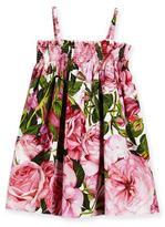 Dolce & Gabbana Sleeveless Poplin Rose Sundress, Pink, Size 8-12