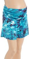 Glam Turquoise & Navy Tie-Dye Shirred Maternity Shorts