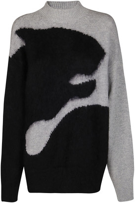 Kenzo Black And Grey Mohair-wool Blend Jumper