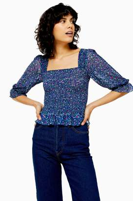 Topshop Womens Petite Ditsy Shirred Angel Sleeve Top - Blue