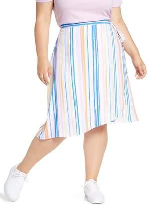 BP Stripe Midi Wrap Skirt (Plus Size)