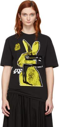 McQ Black and Yellow Glitch Bunny Boyfriend T-Shirt