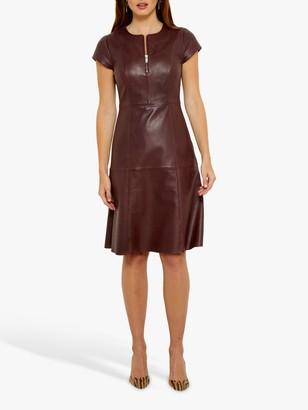 Sosandar Luxury Leather Front Zip Knee Length Dress