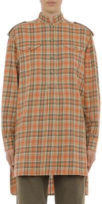 Alberta Ferretti Tartan Flannel Oversized Poplin Micro Collar Shirt