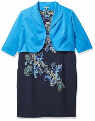Maya Brooke Women's Size Paisley Print Jacket Dress Plus