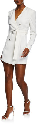 Pinko Belted Long-Sleeve Stretch Crepe Romper