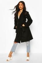 boohoo Hooded Belted Utility Pocket Wool Look Coat