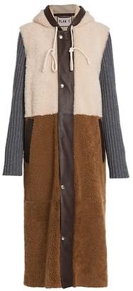 Plan C Colorblock Shearing Knit-Sleeve Coat