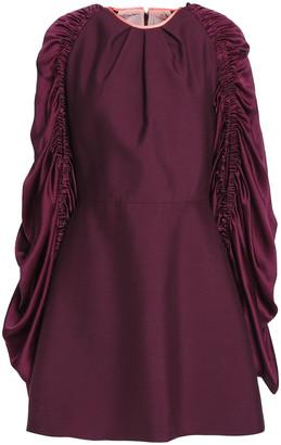 Roksanda Misa Hammered Satin-paneled Silk And Mohair-blend Mini Dress