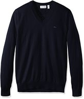 Lacoste Men's Cotton Jersey V Neck Sweater