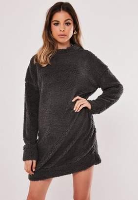 Missguided Grey Borg Teddy Crew Neck Sweater Dress