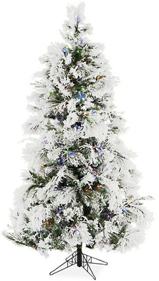 Christmas Time 6.5-Ft. Frosted Fir Snowy Multi-Color LED String Lighting & Holiday Soundtrack Artificial Christmas Tree