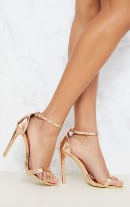 Kultfash Clover Rose Gold Strap Heeled Sandals