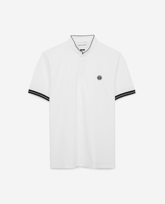 The Kooples Slim white cotton pique polo w/officer collar