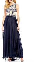 Sequin Hearts Beaded Illusion Bodice Long Dress