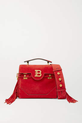 Balmain Bbuzz Medium Fringed Suede Shoulder Bag - Red