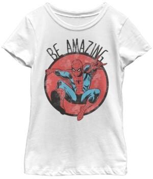 Fifth Sun Marvel Big Girl's Spider-Man Be Amazing Distressed Short Sleeve T-Shirt