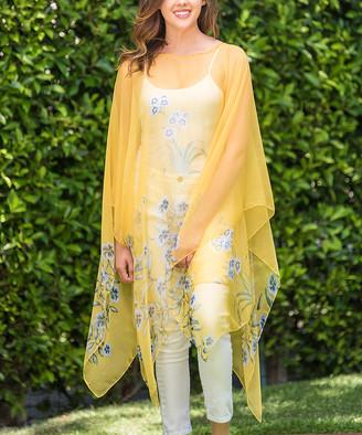 Biz Enterprises Women's Kimono Cardigans DANDELION - Yellow Floral Sheer Handkerchief Poncho - Women