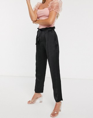 Outrageous Fortune high waist cigarette trouser with belt in black