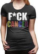 CCC Women's T Shirt Funny Fuck Cancer Rainbow SizeL