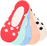Kelly & Katie Women's Microfiber Dots No Show Liners - 5 Pack -Coral/White/Blue