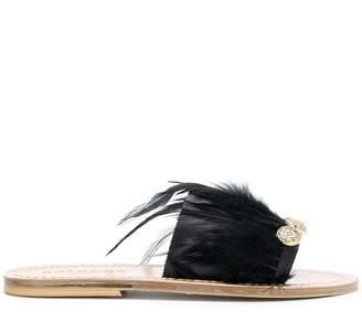 Solange feather detail slip-on sandals