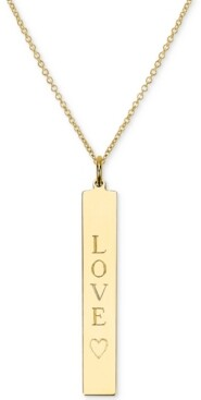 """Sarah Chloe Engraved Love Bar Pendant Necklace in 14k Gold over Silver, 16"""" + 2"""" extender (also available in Sterling Silver)"""