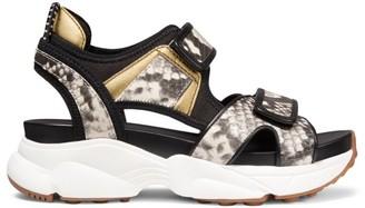 MICHAEL Michael Kors Harvey Python-Embossed Leather Sport Sandals