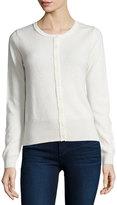 Neiman Marcus Cashmere Basic Button-Up Cardigan, Ivory