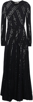 Roberto Cavalli Metallic-trimmed Sequin-embellished Crochet-knit Maxi Dress