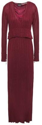 Just Cavalli Metallic Ribbed-knit Maxi Dress