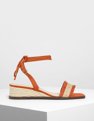 Charles & Keith Raffia Lace-Up Espadrille Wedges