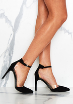Missy Empire Jessa Black Strap Clear Detail Court Heels