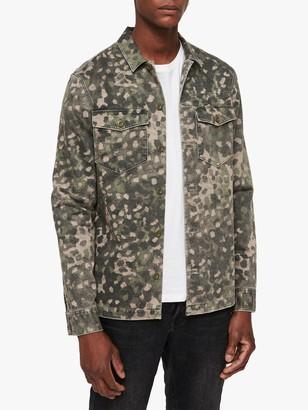 AllSaints Fassett Camouflage Shirt, Khaki Green