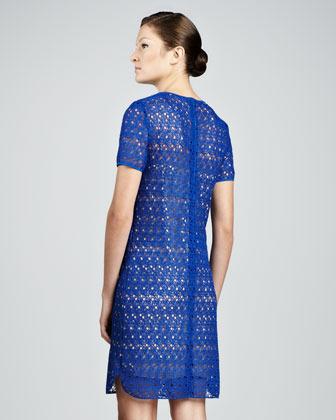 Akris Punto Allover Lace Dress, Royal
