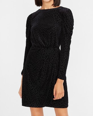 Express Velvet Leopard Puff Sleeve Dress