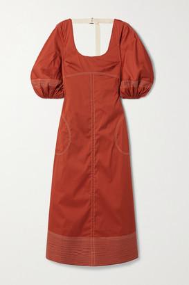 Lee Mathews Sara Canvas-trimmed Cotton-blend Poplin Maxi Dress - Brick