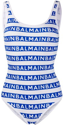 Balmain Striped Logo Swimsuit