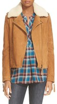 Joie 'Paulette' Suede Moto Jacket with Removable Shearling Collar