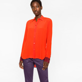 Paul Smith Women's Orange Textured Silk-Blend Shirt