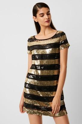 French Connenction Anni Sequin Stripe T-Shirt Dress