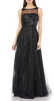 Carmen Marc Valvo Illusion Yoke Sequin Stripe Tulle Gown