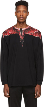 Marcelo Burlon County of Milan Black Red Ghost Wings Long Sleeve T-Shirt